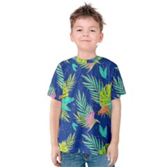 Neon Tropical Flowers Pattern Kids  Cotton Tee by tarastyle