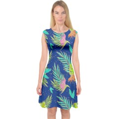 Neon Tropical Flowers Pattern Capsleeve Midi Dress by tarastyle