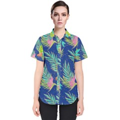 Neon Tropical Flowers Pattern Women s Short Sleeve Shirt by tarastyle