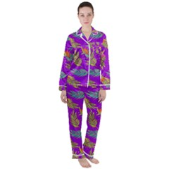 Neon Tropical Flowers Pattern Satin Long Sleeve Pyjamas Set