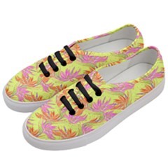 Neon Tropical Flowers Pattern Women s Classic Low Top Sneakers by tarastyle
