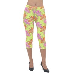 Neon Tropical Flowers Pattern Lightweight Velour Capri Leggings  by tarastyle