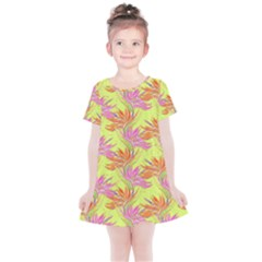 Neon Tropical Flowers Pattern Kids  Simple Cotton Dress by tarastyle