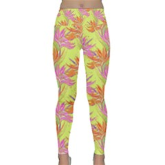 Neon Tropical Flowers Pattern Lightweight Velour Classic Yoga Leggings by tarastyle