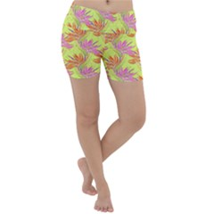 Neon Tropical Flowers Pattern Lightweight Velour Yoga Shorts by tarastyle