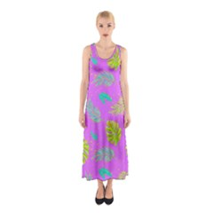 Neon Tropical Flowers Pattern Sleeveless Maxi Dress by tarastyle