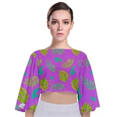 Neon Tropical Flowers Pattern Tie Back Butterfly Sleeve Chiffon Top by tarastyle