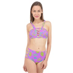 Neon Tropical Flowers Pattern Cage Up Bikini Set by tarastyle