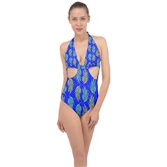 Neon Tropical Flowers Pattern Halter Front Plunge Swimsuit by tarastyle