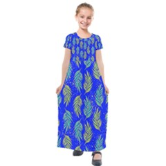 Neon Tropical Flowers Pattern Kids  Short Sleeve Maxi Dress by tarastyle