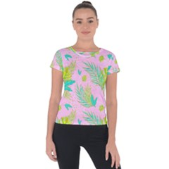 Neon Tropical Flowers Pattern Short Sleeve Sports Top  by tarastyle