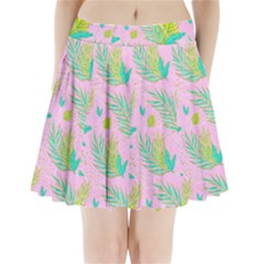 Neon Tropical Flowers Pattern Pleated Mini Skirt by tarastyle