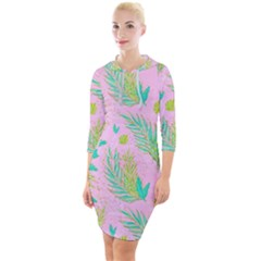 Neon Tropical Flowers Pattern Quarter Sleeve Hood Bodycon Dress by tarastyle