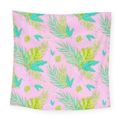 Neon Tropical Flowers Pattern Square Tapestry (large) by tarastyle