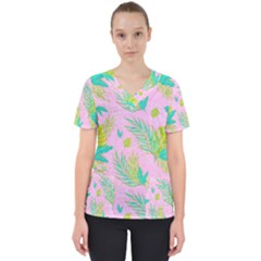 Neon Tropical Flowers Pattern Women s V Neck Scrub Top by tarastyle