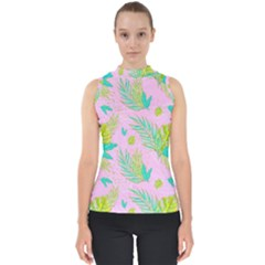 Neon Tropical Flowers Pattern Mock Neck Shell Top by tarastyle