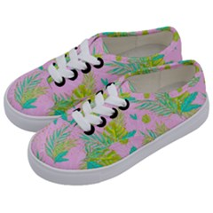 Neon Tropical Flowers Pattern Kids  Classic Low Top Sneakers by tarastyle