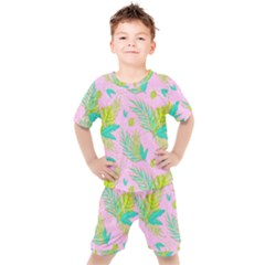 Neon Tropical Flowers Pattern Kids  Tee And Shorts Set by tarastyle