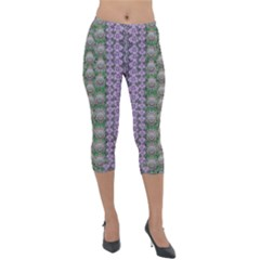 Decorative Juwel And Pearls Ornate Lightweight Velour Capri Leggings  by pepitasart