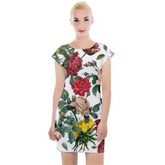 Elegant Vintage Flowers Pattern  Cap Sleeve Bodycon Dress by tarastyle