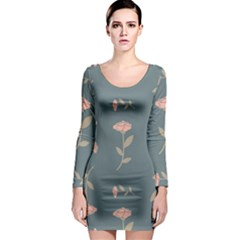 Florets Rose Flower Long Sleeve Bodycon Dress by HermanTelo