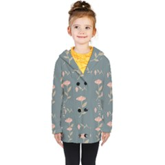 Florets Rose Flower Kids  Double Breasted Button Coat