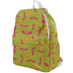 Dragonfly Sun Flower Seamlessly Top Flap Backpack