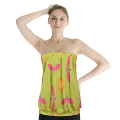 Dragonfly Sun Flower Seamlessly Strapless Top