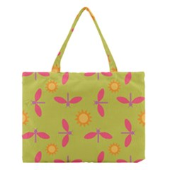 Dragonfly Sun Flower Seamlessly Medium Tote Bag