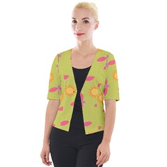 Dragonfly Sun Flower Seamlessly Cropped Button Cardigan by HermanTelo
