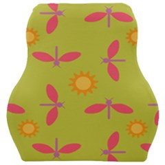 Dragonfly Sun Flower Seamlessly Car Seat Velour Cushion