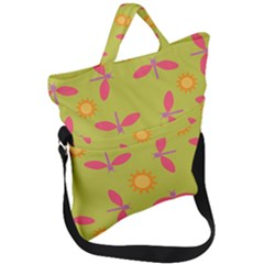 Dragonfly Sun Flower Seamlessly Fold Over Handle Tote Bag