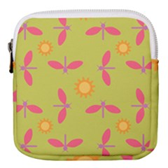 Dragonfly Sun Flower Seamlessly Mini Square Pouch