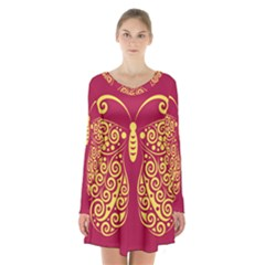 Butterfly Insect Bug Decoration Long Sleeve Velvet V-neck Dress