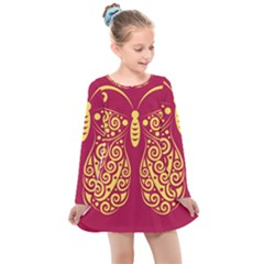 Butterfly Insect Bug Decoration Kids  Long Sleeve Dress by HermanTelo