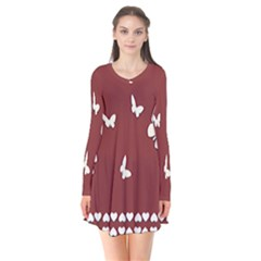 Heart Love Butterflies Animal Long Sleeve V-neck Flare Dress