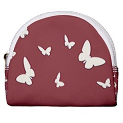 Heart Love Butterflies Animal Horseshoe Style Canvas Pouch