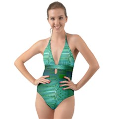 Board Conductors Circuits Halter Cut Out One Piece Swimsuit