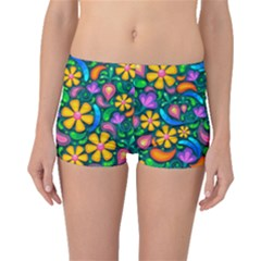 Floral Paisley Background Flower Green Boyleg Bikini Bottoms