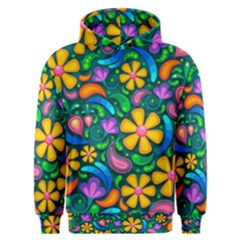 Floral Paisley Background Flower Green Men s Overhead Hoodie