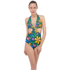 Floral Paisley Background Flower Green Halter Front Plunge Swimsuit by HermanTelo