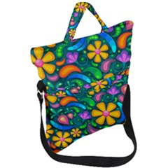 Floral Paisley Background Flower Green Fold Over Handle Tote Bag