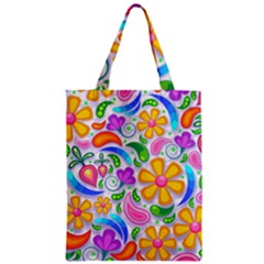 Floral Paisley Background Flower Yellow Zipper Classic Tote Bag