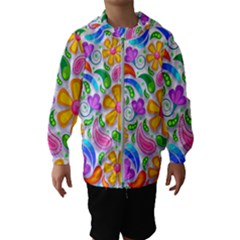 Floral Paisley Background Flower Yellow Kids  Hooded Windbreaker