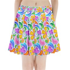 Floral Paisley Background Flower Yellow Pleated Mini Skirt by HermanTelo