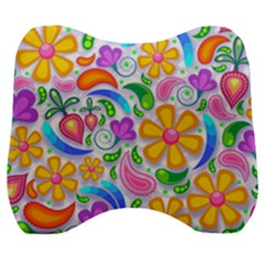 Floral Paisley Background Flower Yellow Velour Head Support Cushion