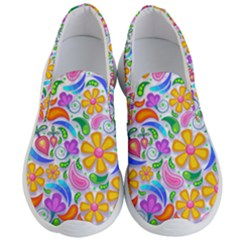 Floral Paisley Background Flower Yellow Men s Lightweight Slip Ons