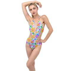 Floral Paisley Background Flower Yellow Plunging Cut Out Swimsuit
