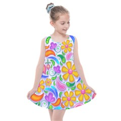 Floral Paisley Background Flower Yellow Kids  Summer Dress