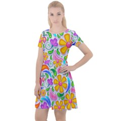 Floral Paisley Background Flower Yellow Cap Sleeve Velour Dress